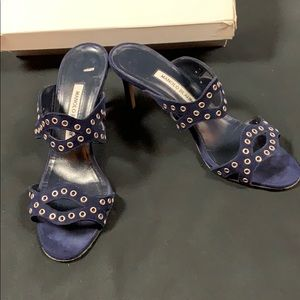 Manolo Blahnik Blue Suede Shoes 38